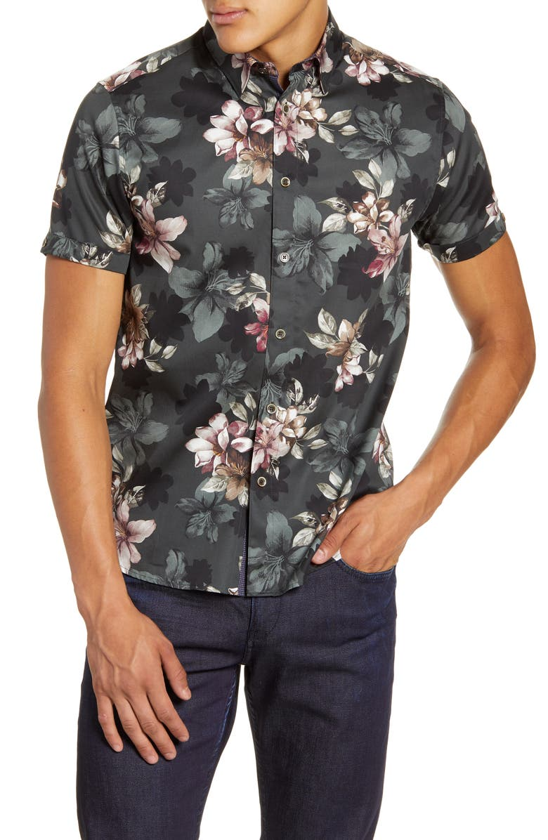 TED BAKER LONDON Verre Slim Fit Floral Short Sleeve Button-Up Shirt, Main, color, GREEN