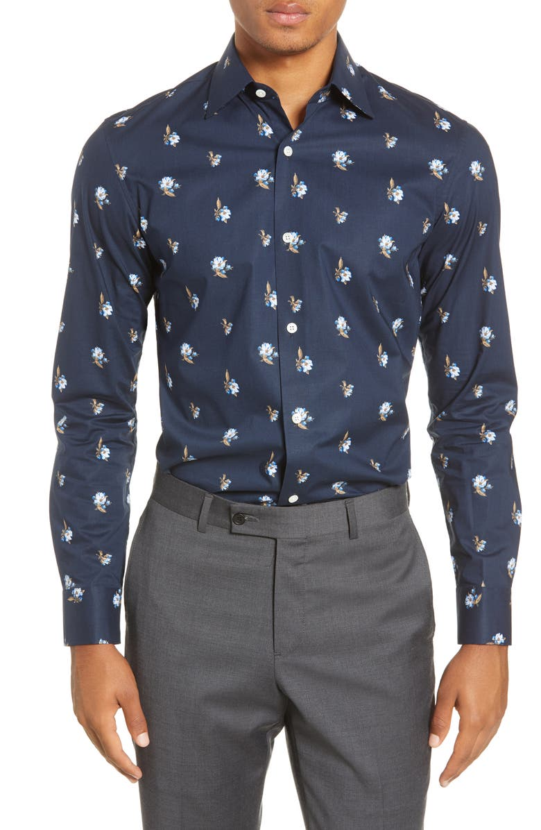 BONOBOS Slim Fit Floral Stretch Dress Shirt, Main, color, VALLEY FLORAL - NAVY BEATS