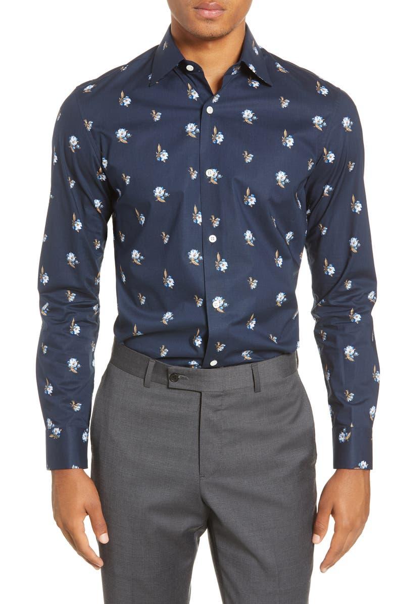 BONOBOS Slim Fit Floral Stretch Dress Shirt, Main, color, VALLEY FLORAL - NAVY BEATS