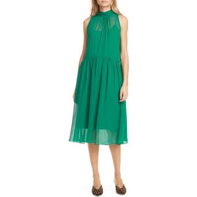 Club Monaco Tie Back Sleeveless Silk Chiffon Dress, Green
