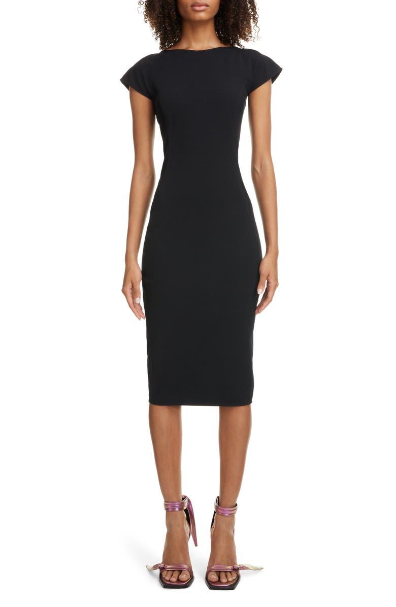 RICK OWENS Back Cutout Sheath Dress, Main, color, BLACK