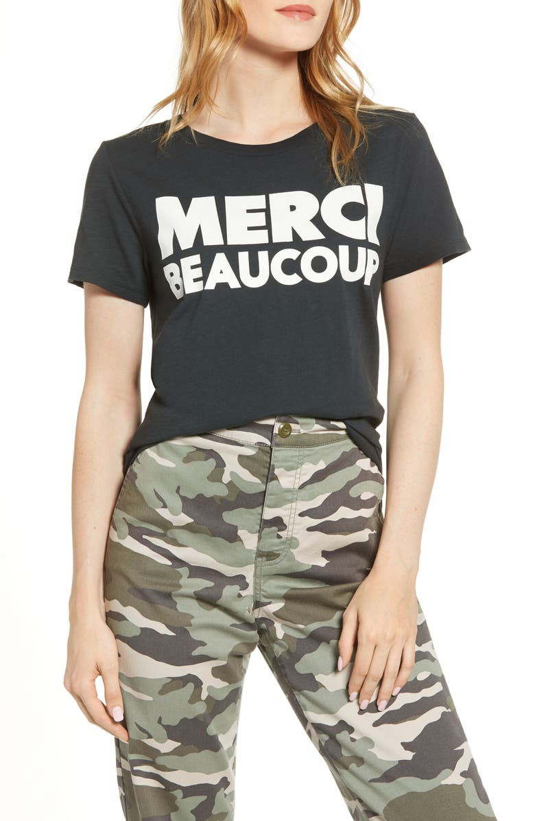J.CREW Merci Beaucoup Tee, Main, color, 001
