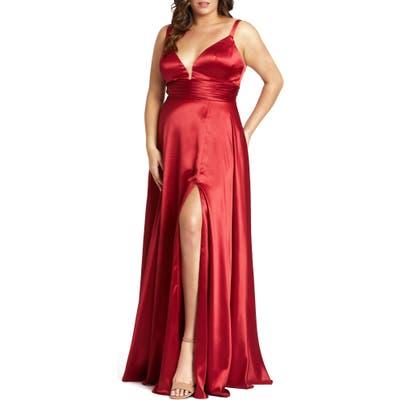 Plus Size MAC Duggal Empire Waist Satin Gown, Red