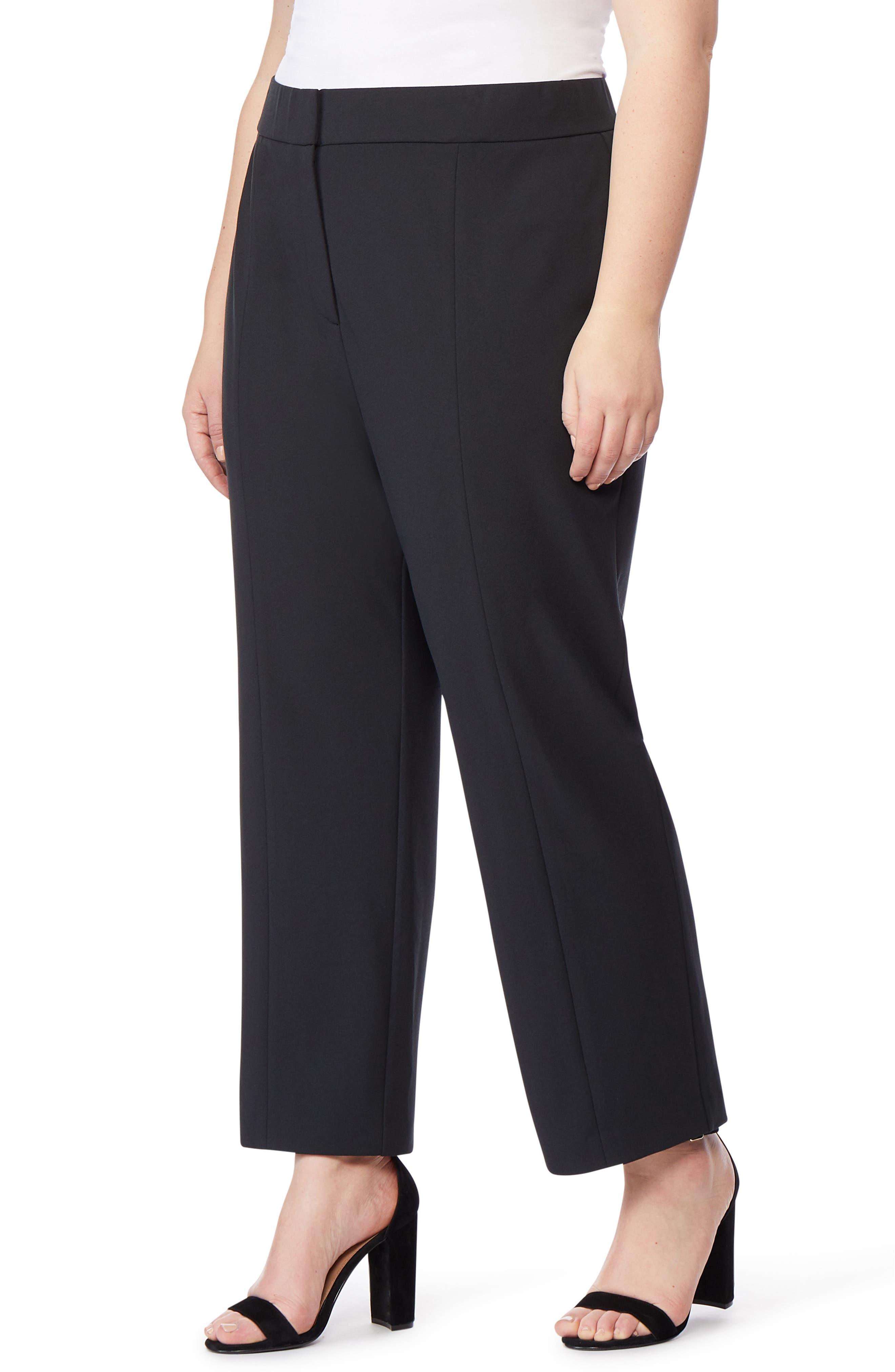 ,                             Ponte Ankle Trousers,                             Alternate thumbnail 4, color,                             BLACK