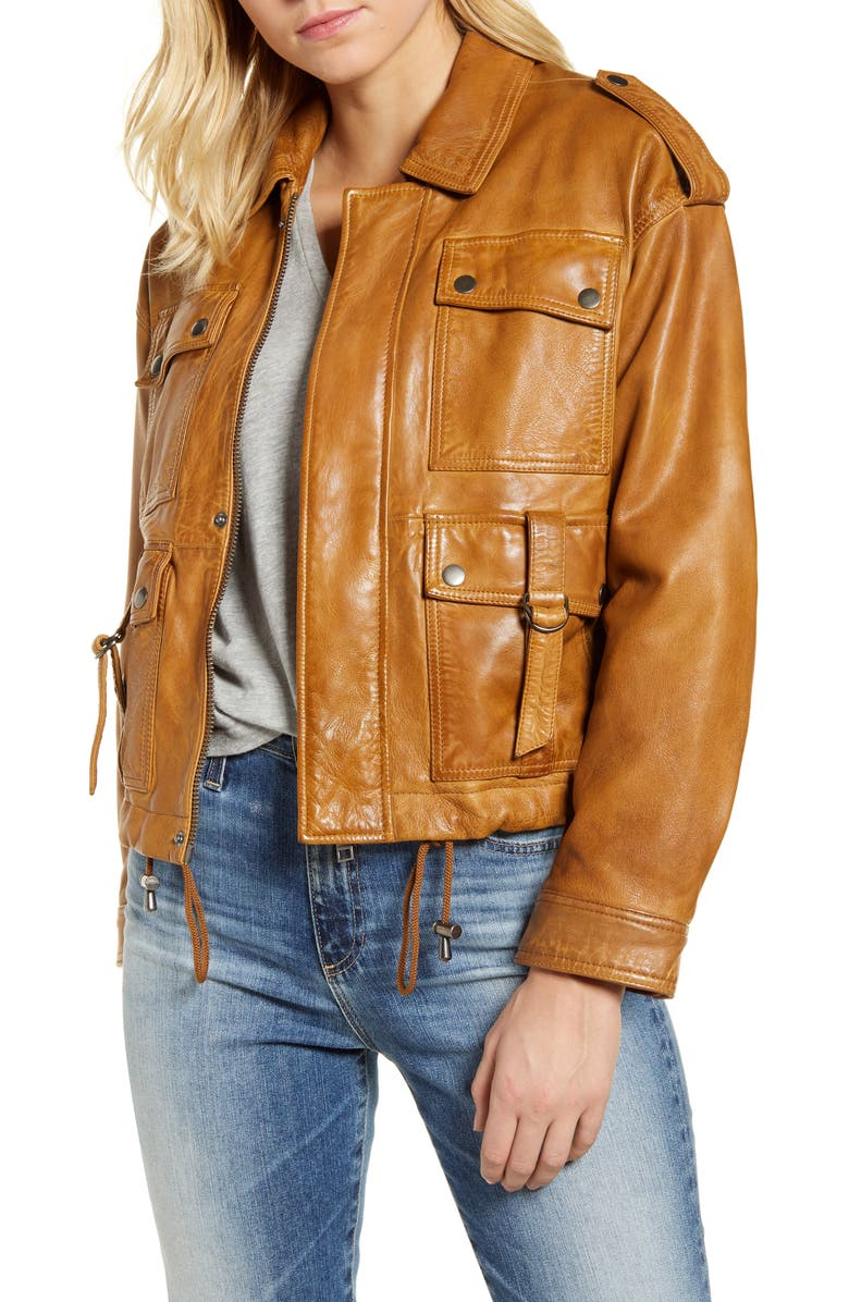 LUCKY BRAND Relaxed Indie Leather Jacket, Main, color, COGNAC