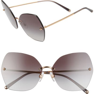 Dolce & gabbana Lucia Mirrored Oversize Butterfly Sunglasses - Black/ Gold/ Gradient