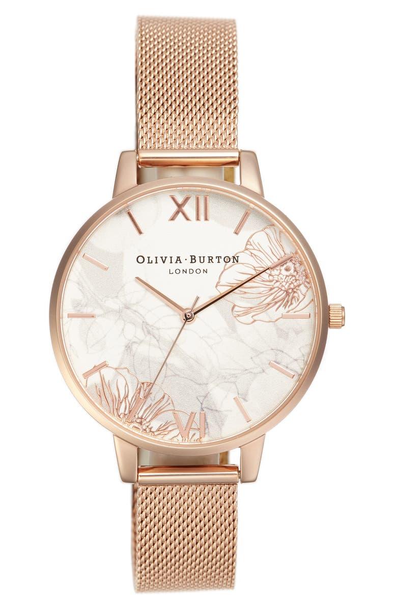 OLIVIA BURTON Oliva Burton Abstract Florals Mesh Bracelet Watch, 38mm, Main, color, 710