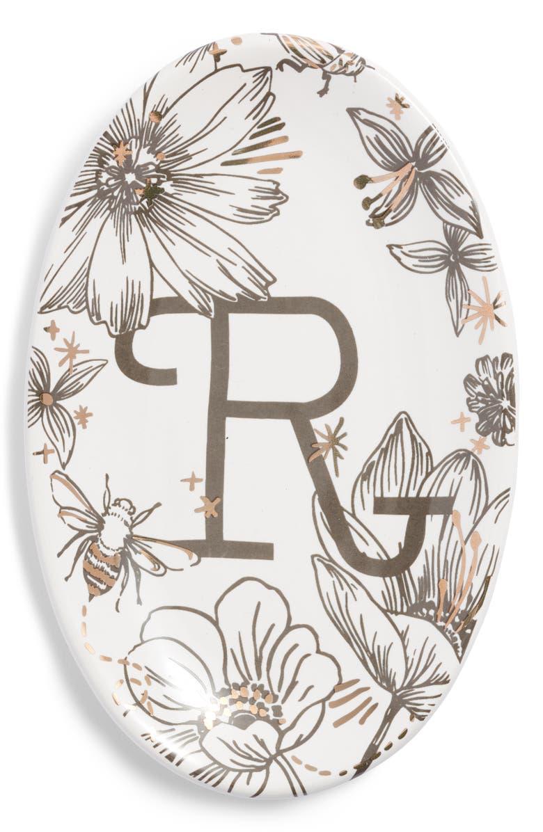 NORDSTROM AT HOME Floral Monogram Trinket Tray, Main, color, 117