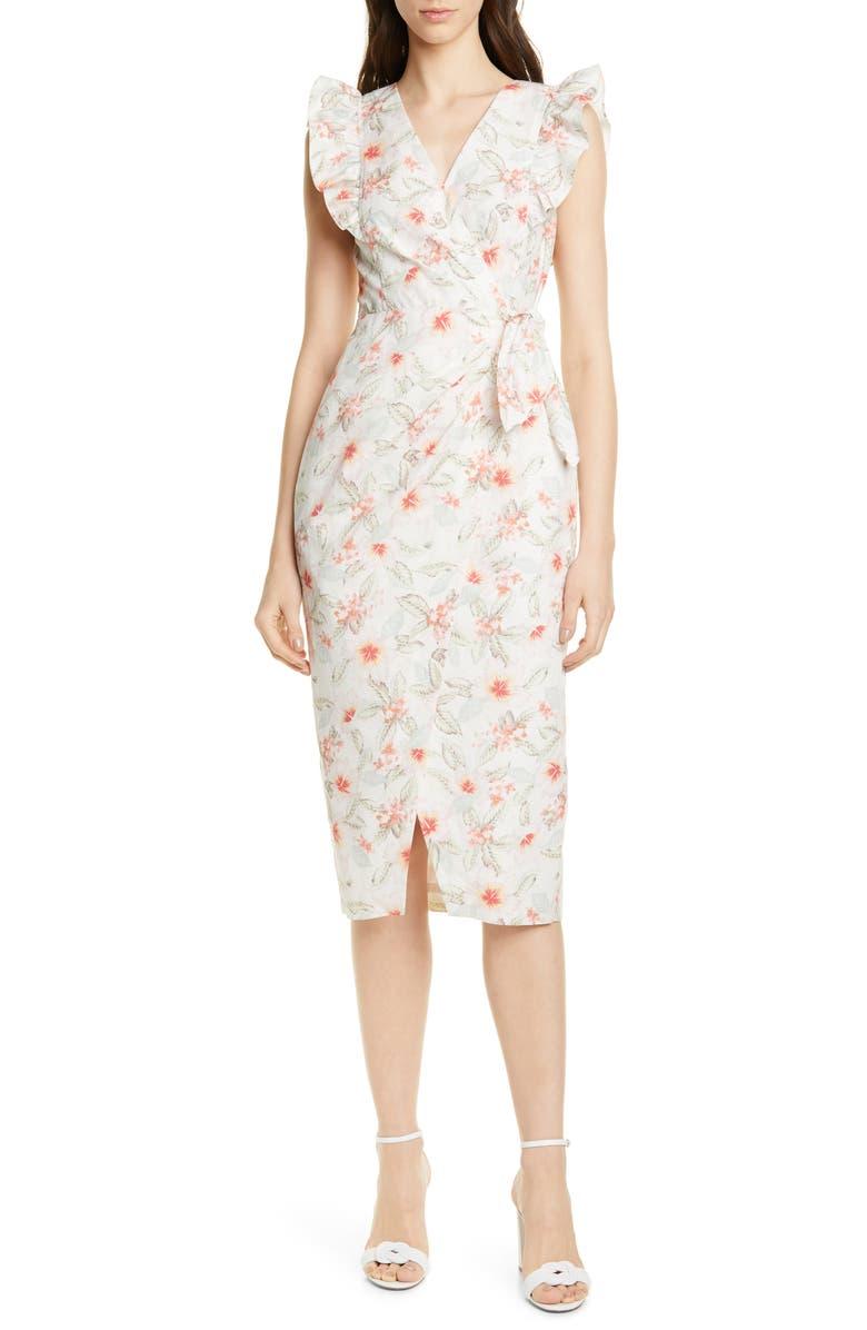 REBECCA TAYLOR Kamea Wrap Style Cotton & Linen Dress, Main, color, SNOW COMBO