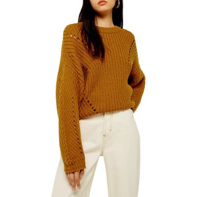 Topshop Chunky Pointelle Sweater, Brown