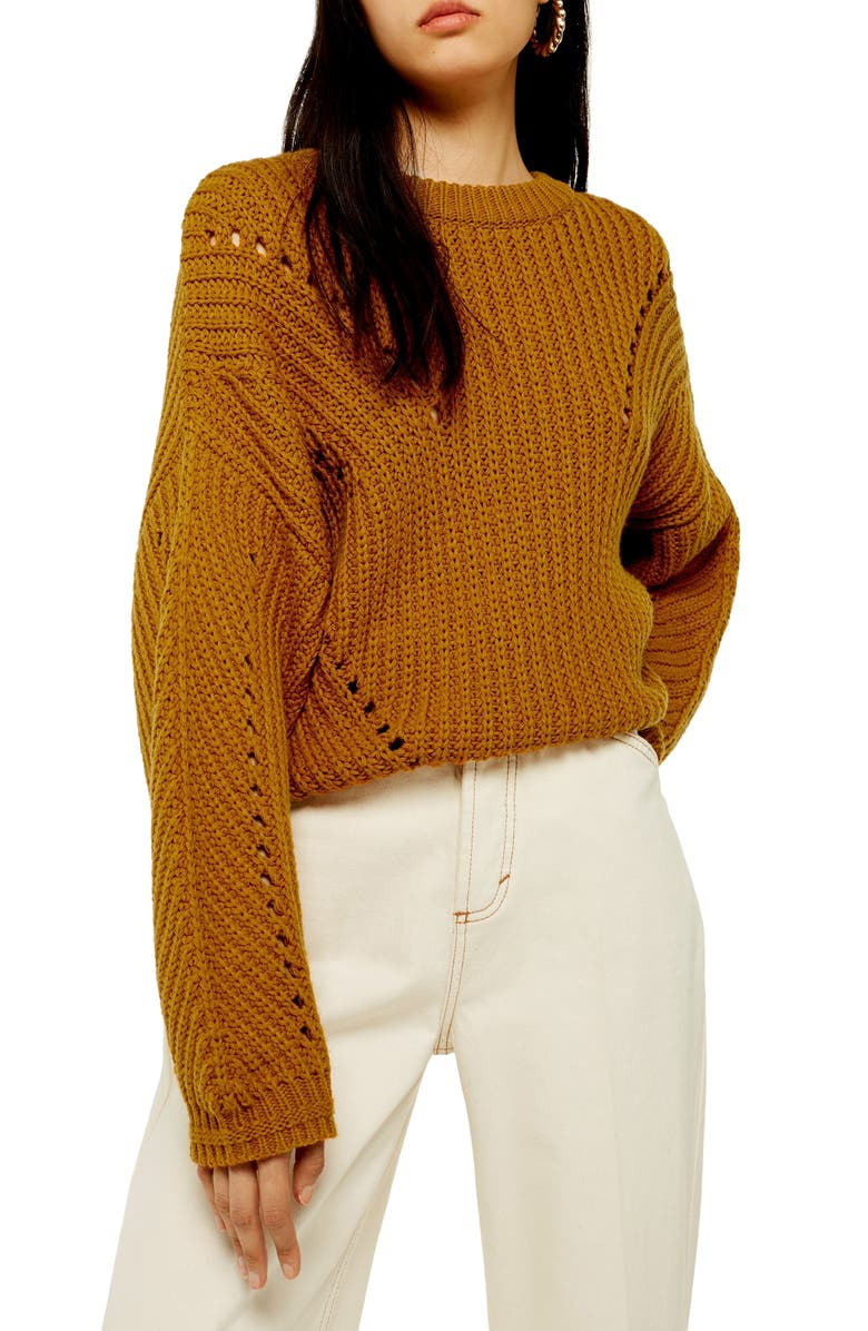 TOPSHOP Chunky Pointelle Sweater, Main, color, BROWN