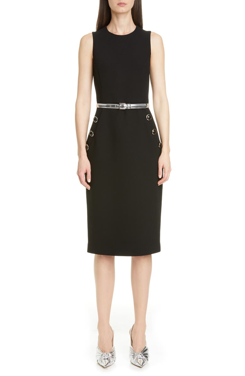 MICHAEL KORS COLLECTION Belted Button Detail Stretch Wool Sheath Dress, Main, color, BLACK