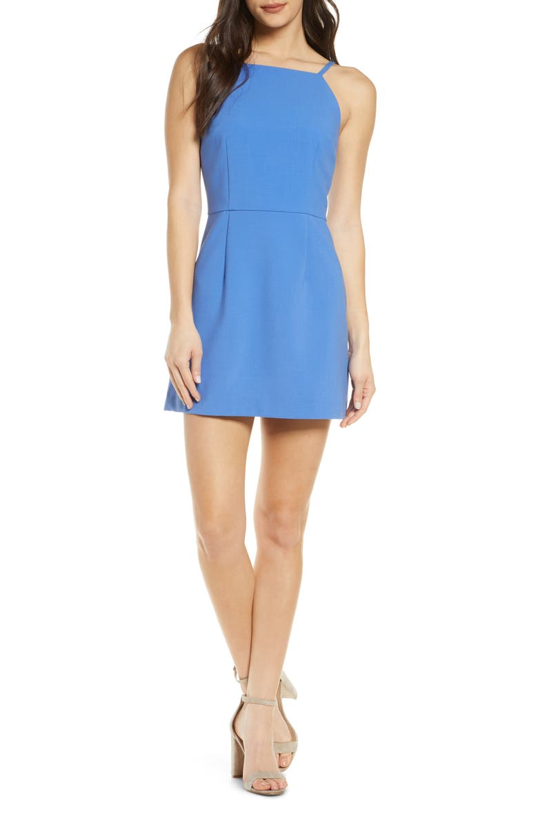 FRENCH CONNECTION Whisper Light Sheath Minidress, Main, color, CHALK BLUE