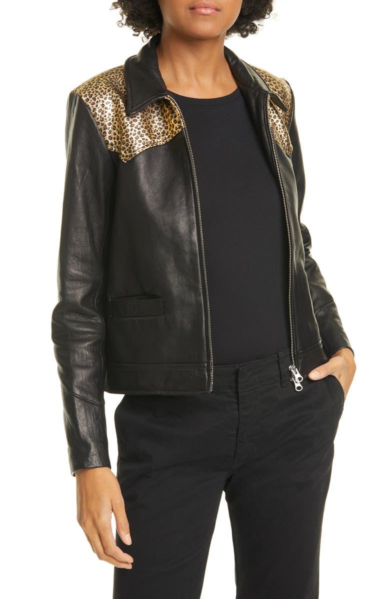 NILI LOTAN Leopard Print Yoke Leather Jacket, Main, color, BLACK W/ GOLD LEOPARD PRINT