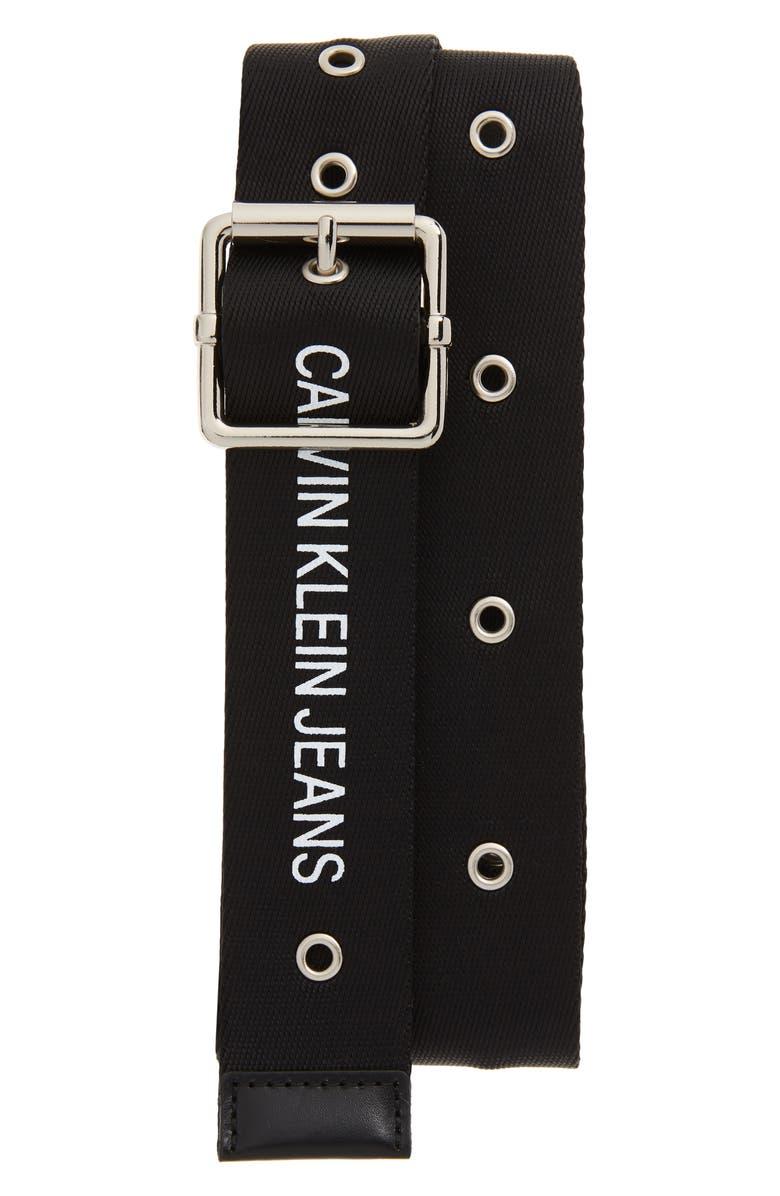 CALVIN KLEIN Logo Web Belt, Main, color, BLACK