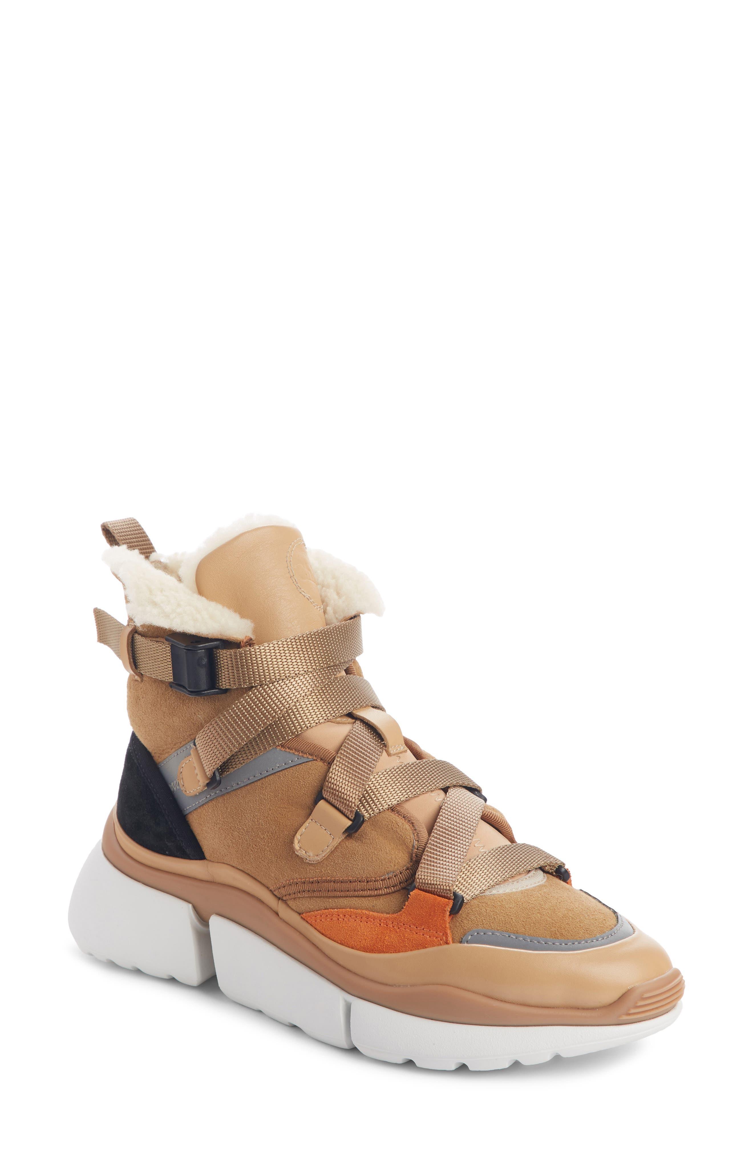 Chloe Sonnie Genuine Shearling High-Top Sneaker, Brown