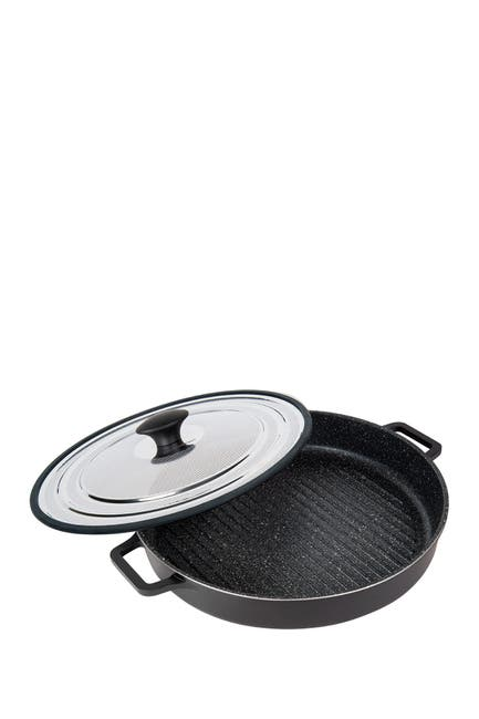"""Image of MASTERPAN Black Stovetop Oven Grill 12"""" Pan with Heat-in Steam-Out Lid"""