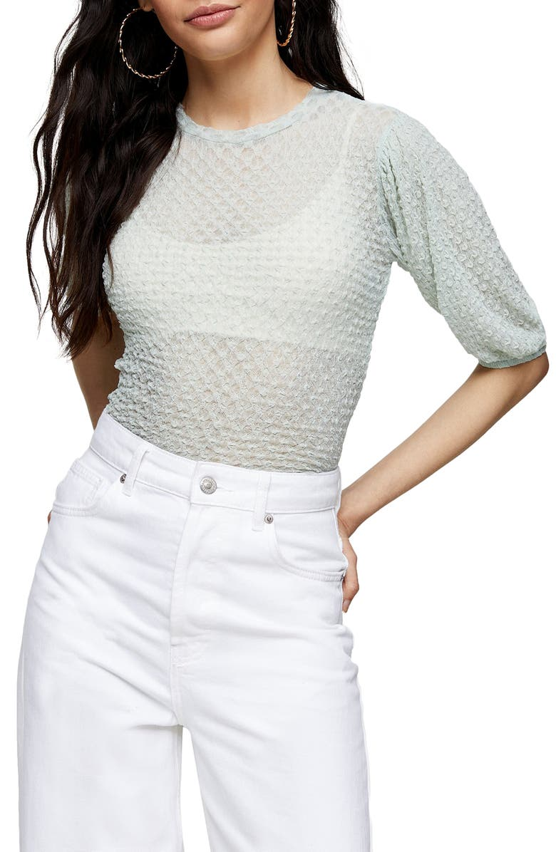 TOPSHOP Textured Puff Sleeve Top, Main, color, 300