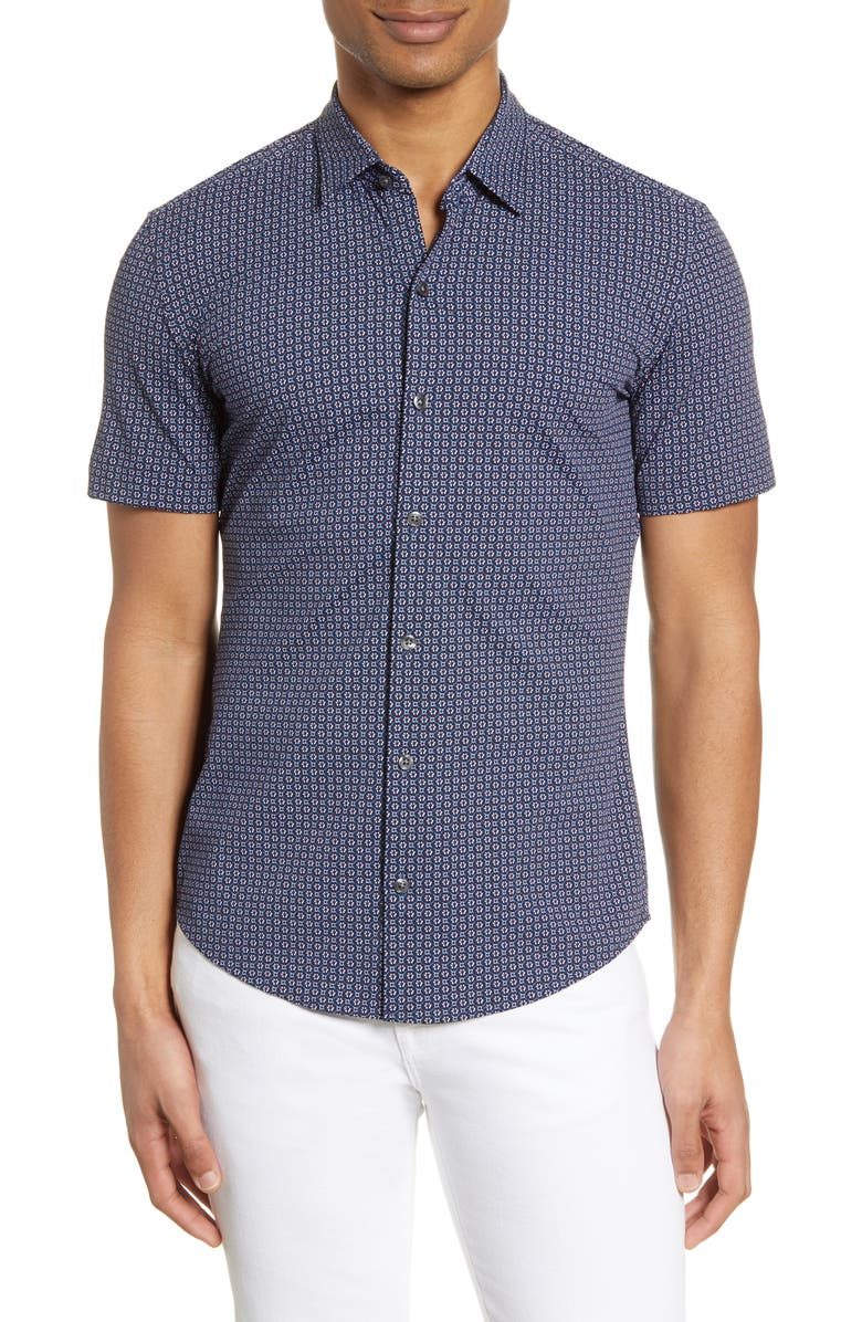 BOSS Robb Slim Fit Mini Floral Short Sleeve Button-Up Performance Shirt, Main, color, NAVY