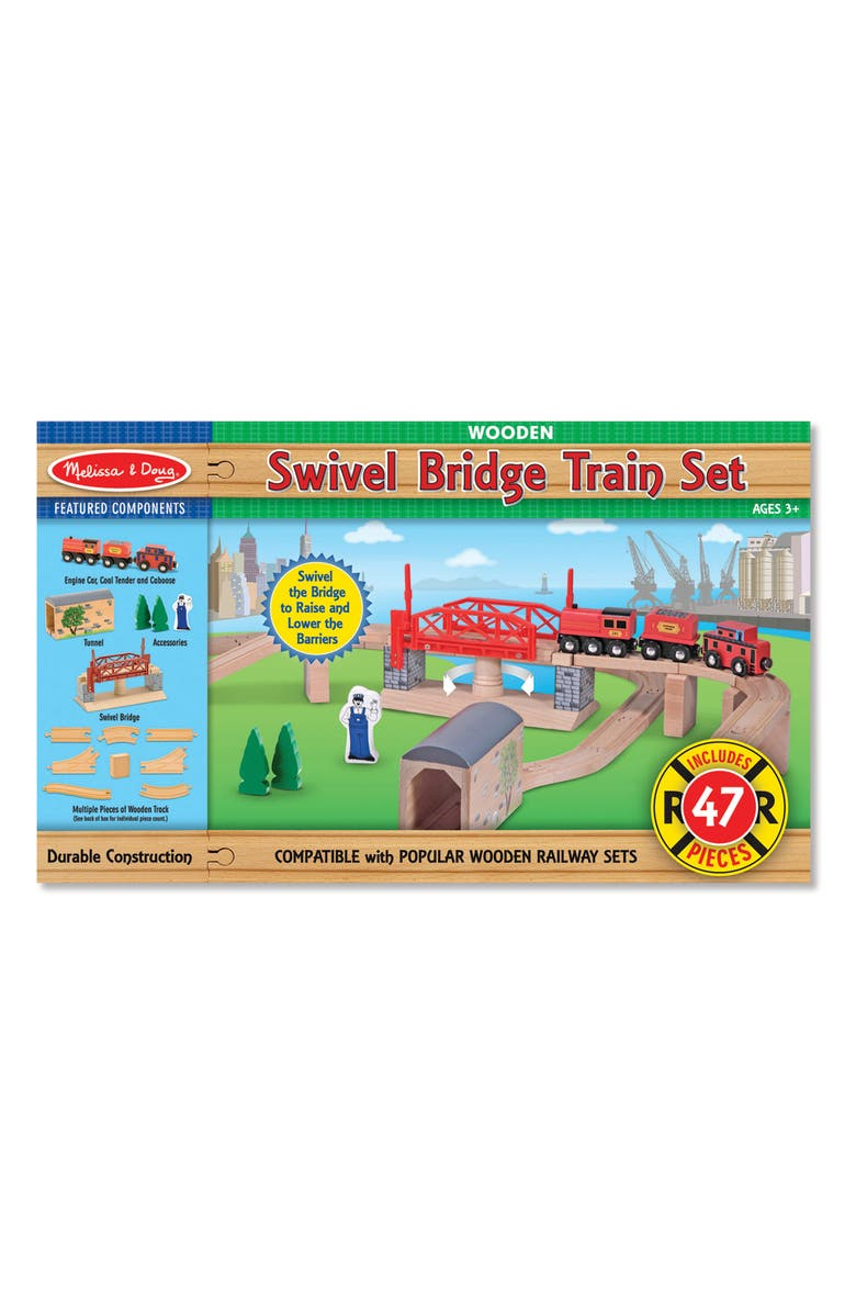 MELISSA & DOUG Swivel Bridge Train Set, Main, color, MULTI