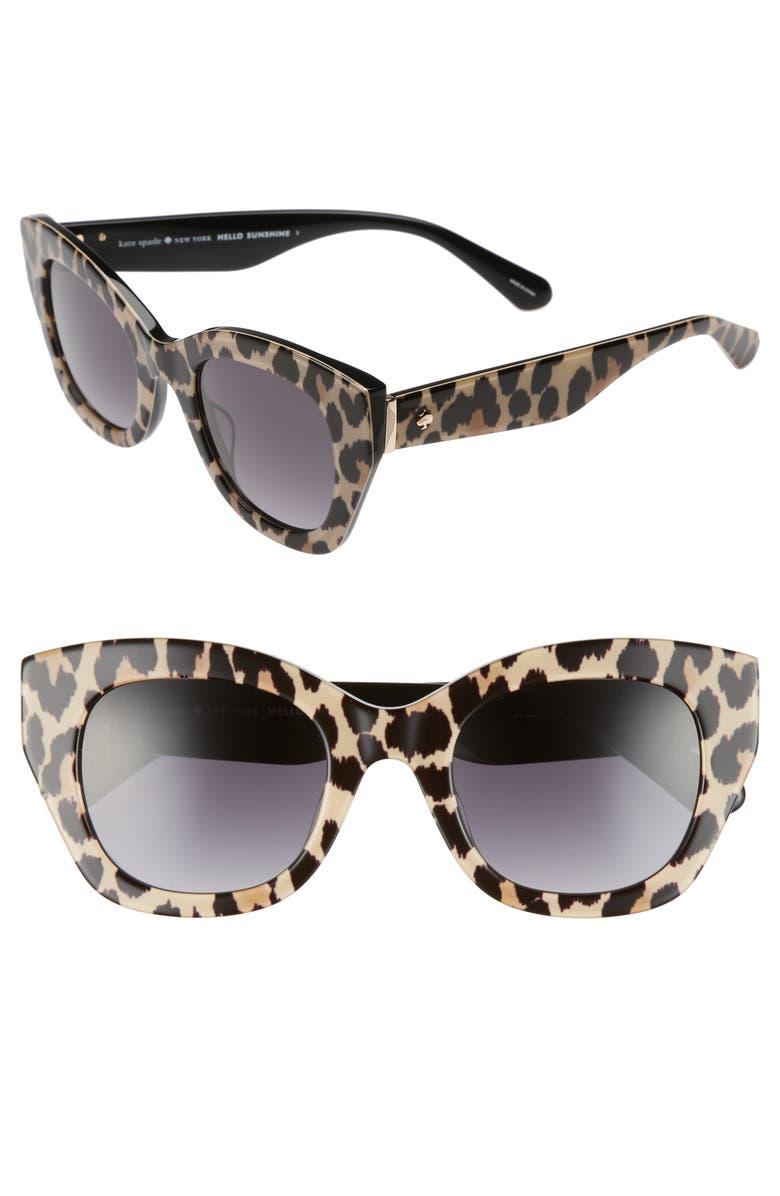 KATE SPADE NEW YORK jalena 49mm gradient sunglasses, Main, color, 001