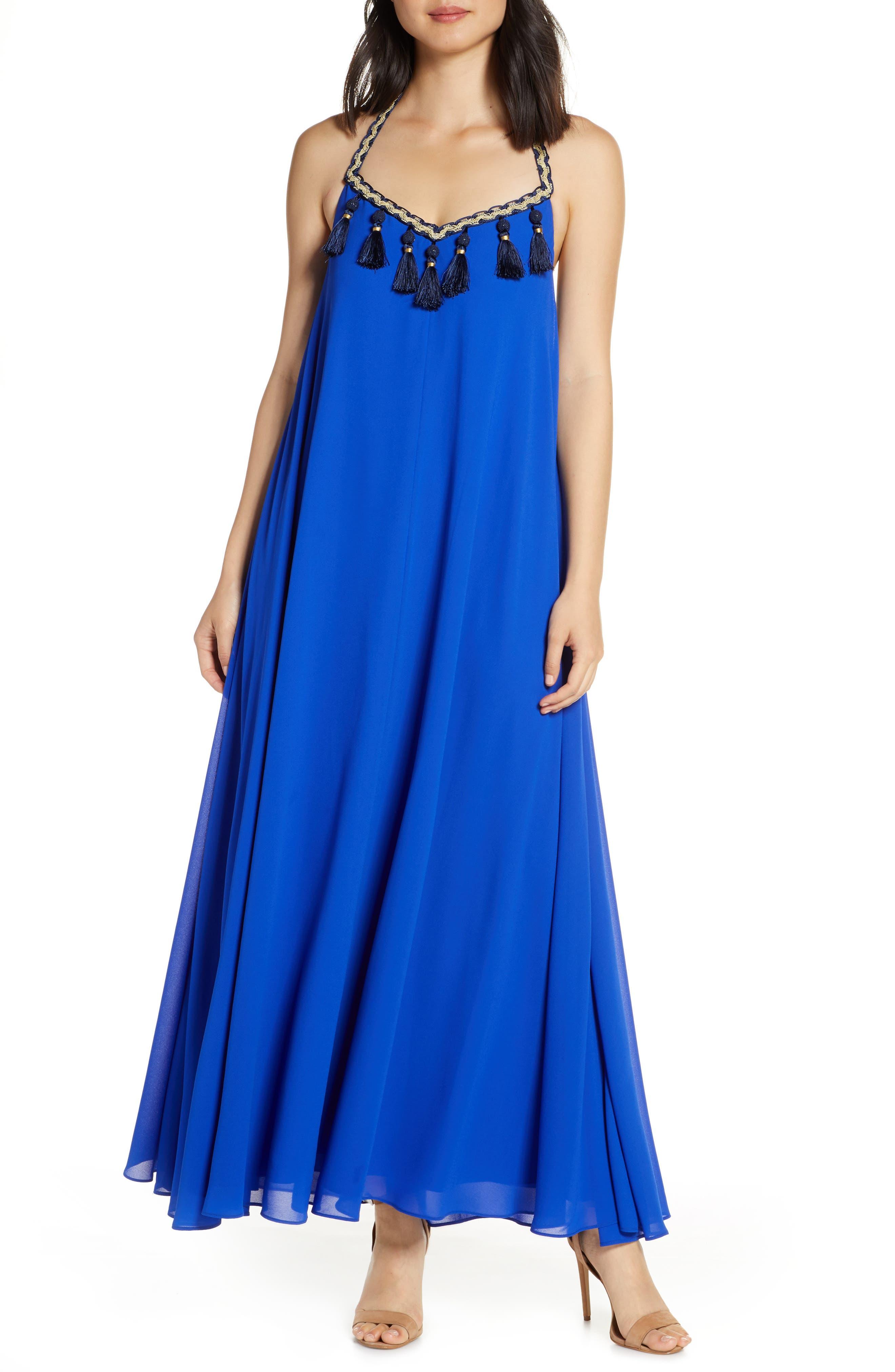 Mark + James By Badgley Mischka Boho Halter Maxi Dress, Blue