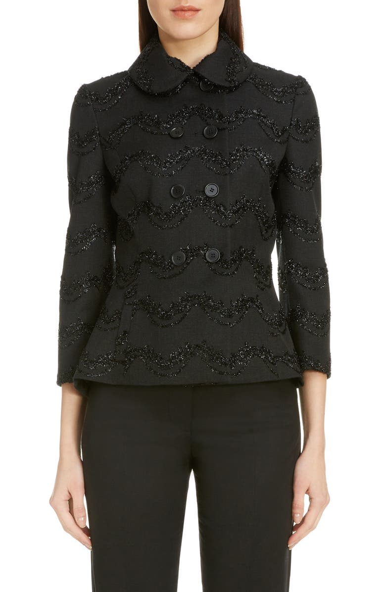 SIMONE ROCHA Embroidered Double Breasted Blazer, Main, color, BLACK