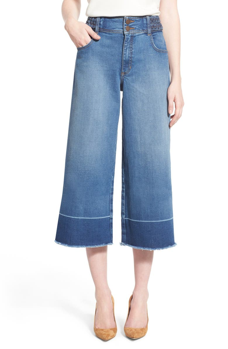 OLIVIA PALERMO + CHELSEA28 High Rise Denim Culottes, Main, color, 410