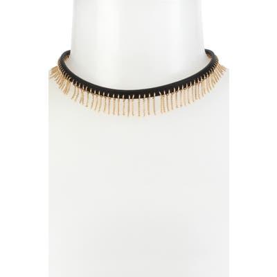 Allsaints Fringe Leather Choker Necklace