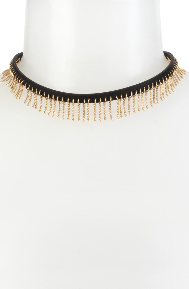 ALLSAINTS Fringe Leather Choker Necklace, Main, color, BLACK/ GOLD