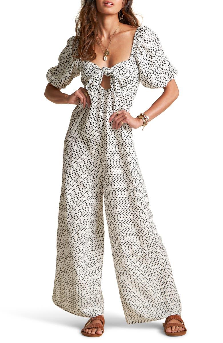 BILLABONG x Sincerely Jules Shout It Out Geo Print Wide Leg Linen Blend Jumpsuit, Main, color, COOL WIP