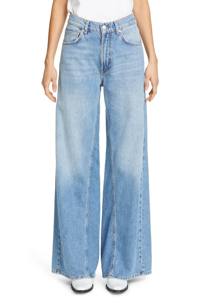 GANNI Wide Flare Leg Jeans, Main, color, BLEACHED DENIM
