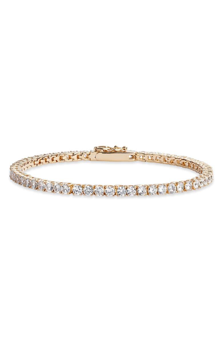 NORDSTROM Cubic Zirconia Tennis Bracelet, Main, color, CLEAR- GOLD