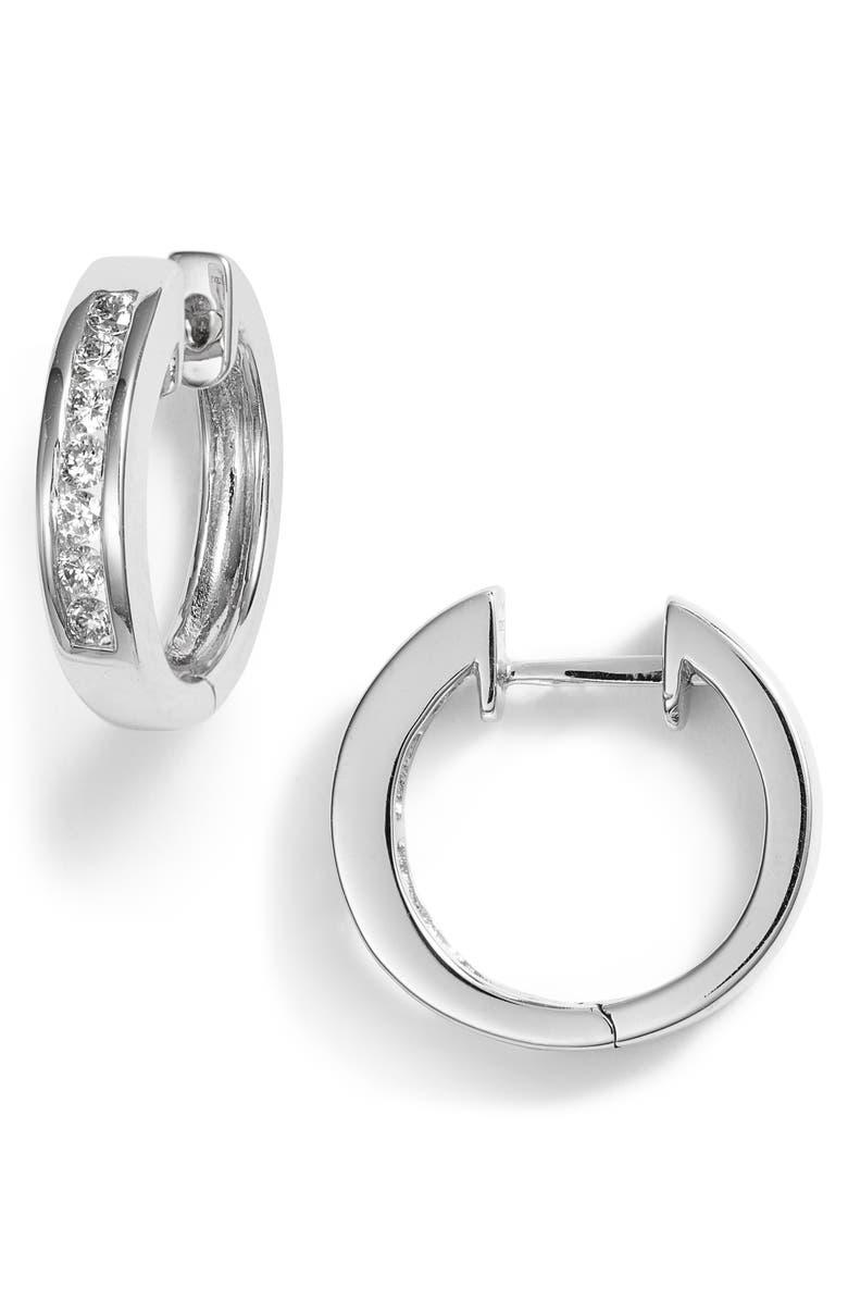 BONY LEVY Diamond Inset Small Hoop Earrings, Main, color, WHITE GOLD/ DIAMOND