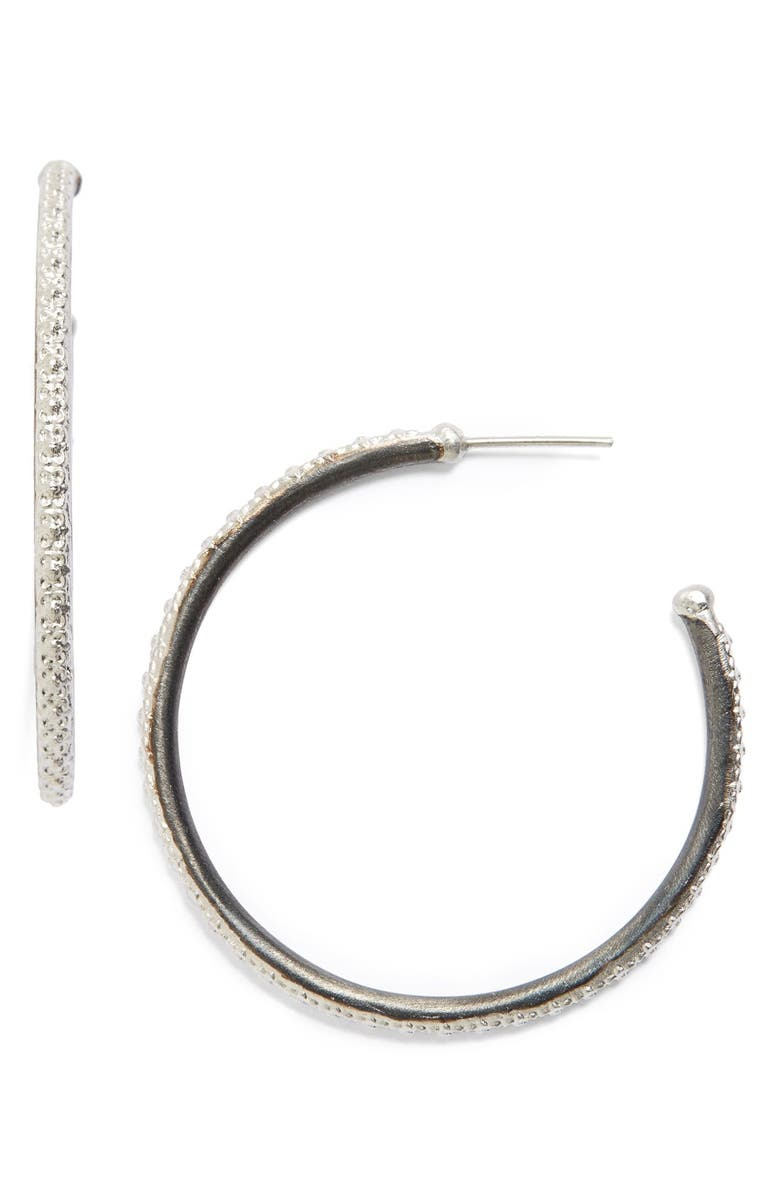 ARMENTA Old World Midnight Hoop Earrings, Main, color, SILVER