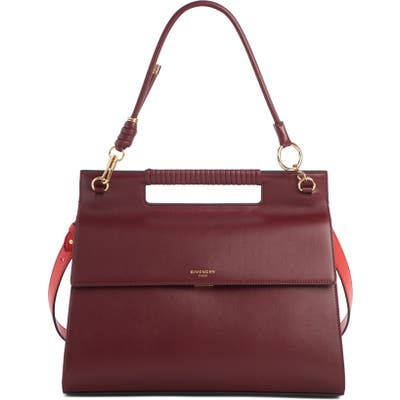 Givenchy Large Whip Leather Top Handle Bag - Burgundy