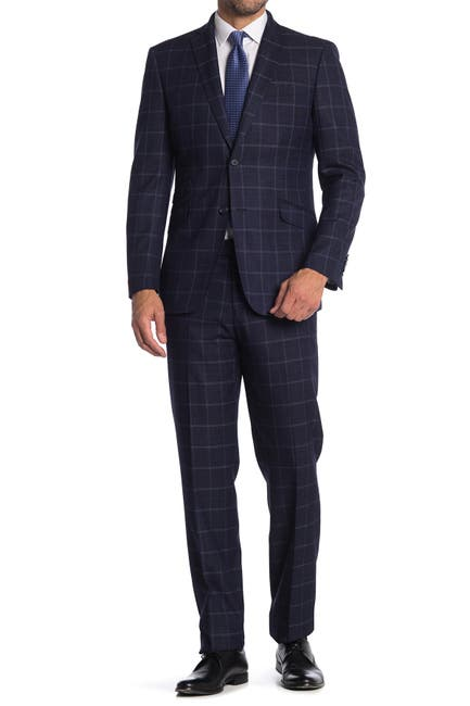Image of English Laundry Check Print Two Button Stretch Suit