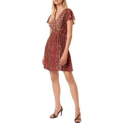 French Connection Annalia Leopard Print Wrap Dress, Pink
