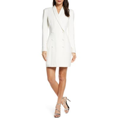 Harlyn Double Breasted Tuxedo Long Sleeve Cocktail Dress, Ivory