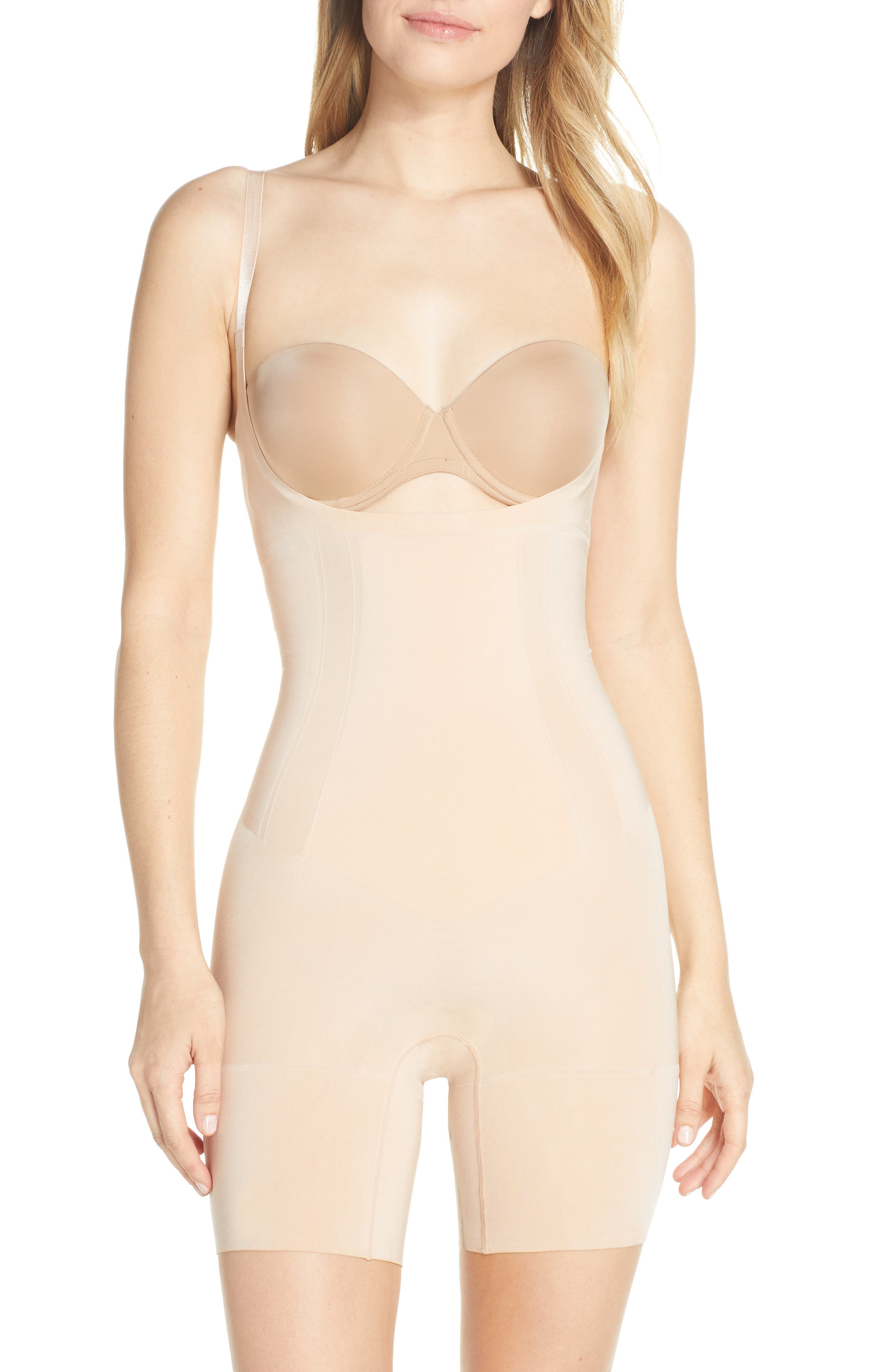 SPANX® OnCore Open-Bust Mid-Thigh Shaper Bodysuit