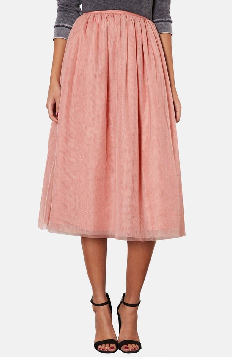 TOPSHOP Pleated Mesh Midi Skirt, Main, color, 650