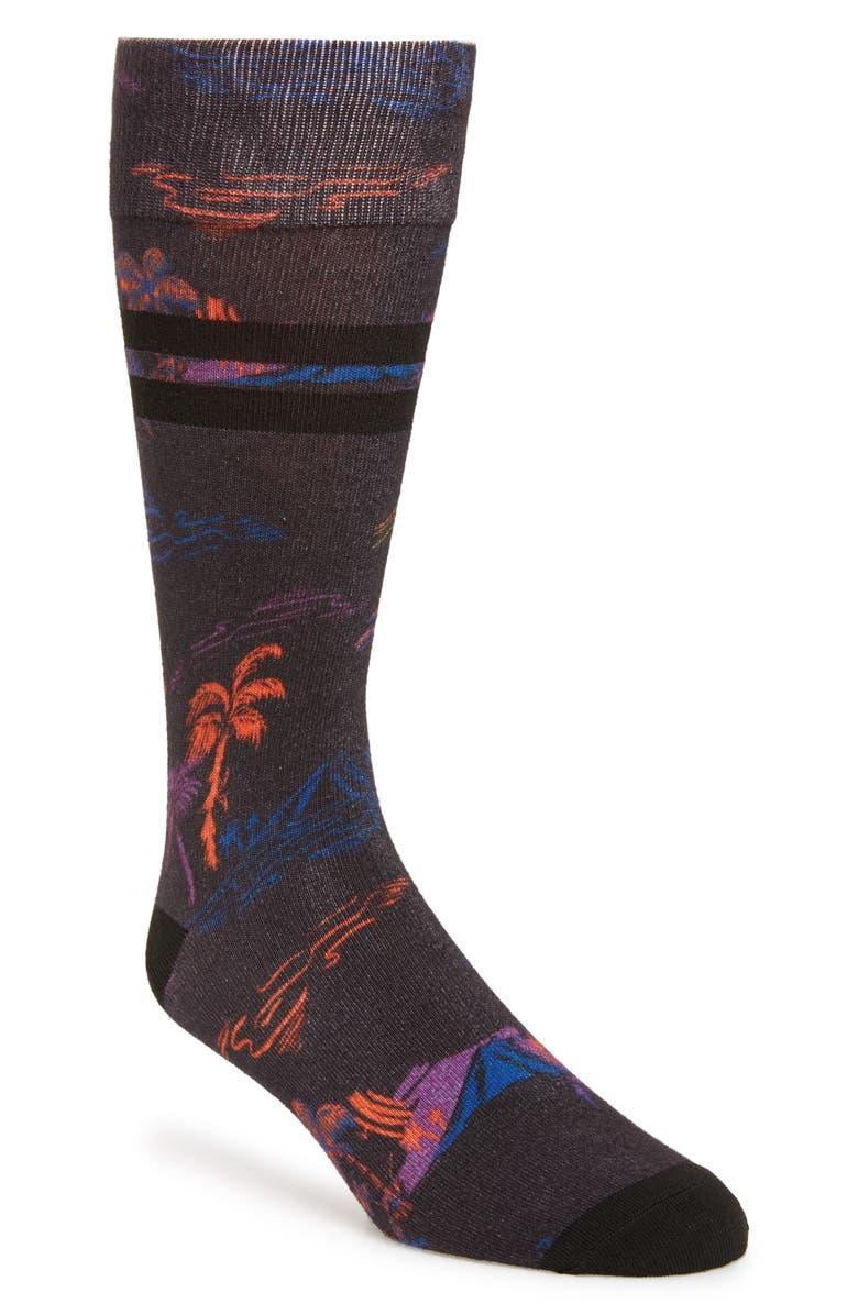 NORDSTROM MEN'S SHOP Twilight Island Socks, Main, color, BLACK MULTI