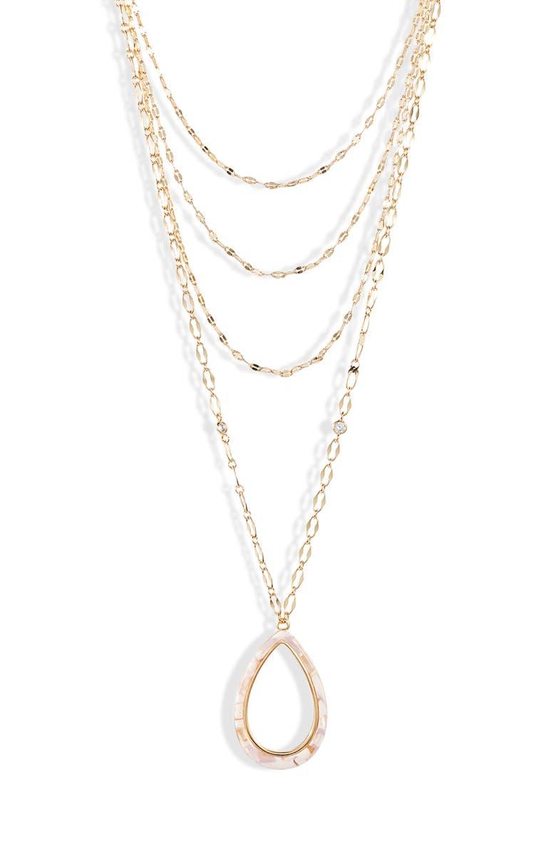 ETTIKA Multistrand Teardrop Pendant Necklace, Main, color, BLUSH