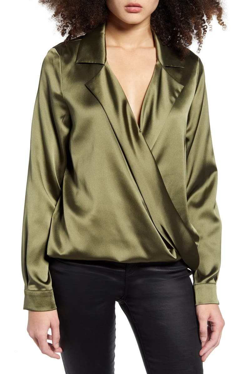 ENDLESS ROSE Wrap Front Blouse, Main, color, GREEN
