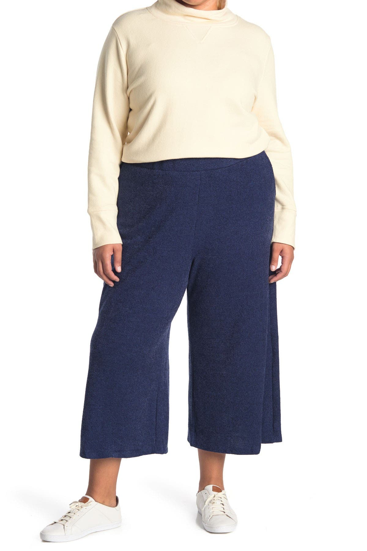 Image of Gibsonlook Ribbed Knit Cropped Wide Leg Pants