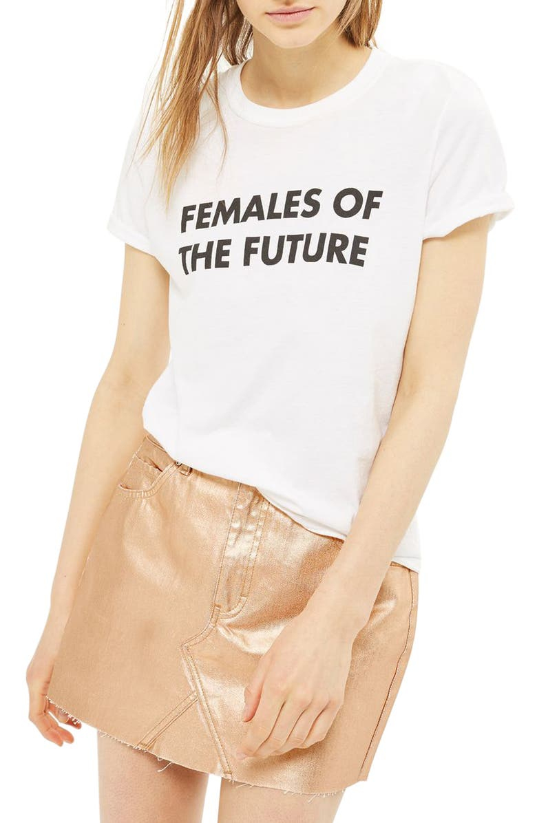 TOPSHOP Moto High Waist Metallic Denim Miniskirt, Main, color, 719