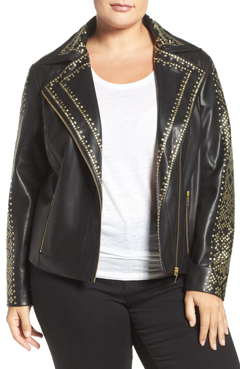 TART Manie Studded Faux Leather Jacket, Main, color, 001