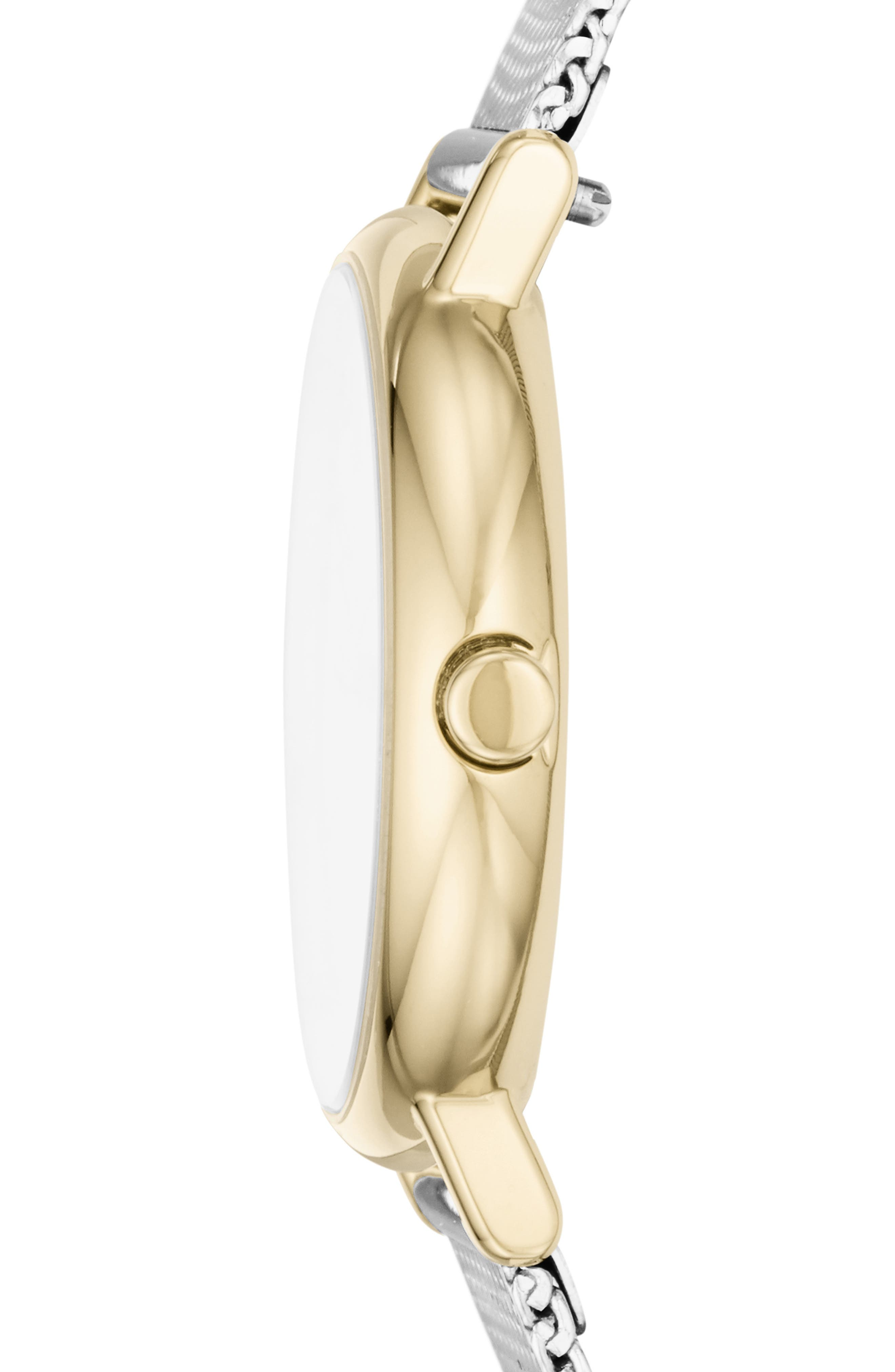 ,                             Signatur Slim Mesh Strap Watch, 30mm,                             Alternate thumbnail 2, color,                             SILVER/ GOLD