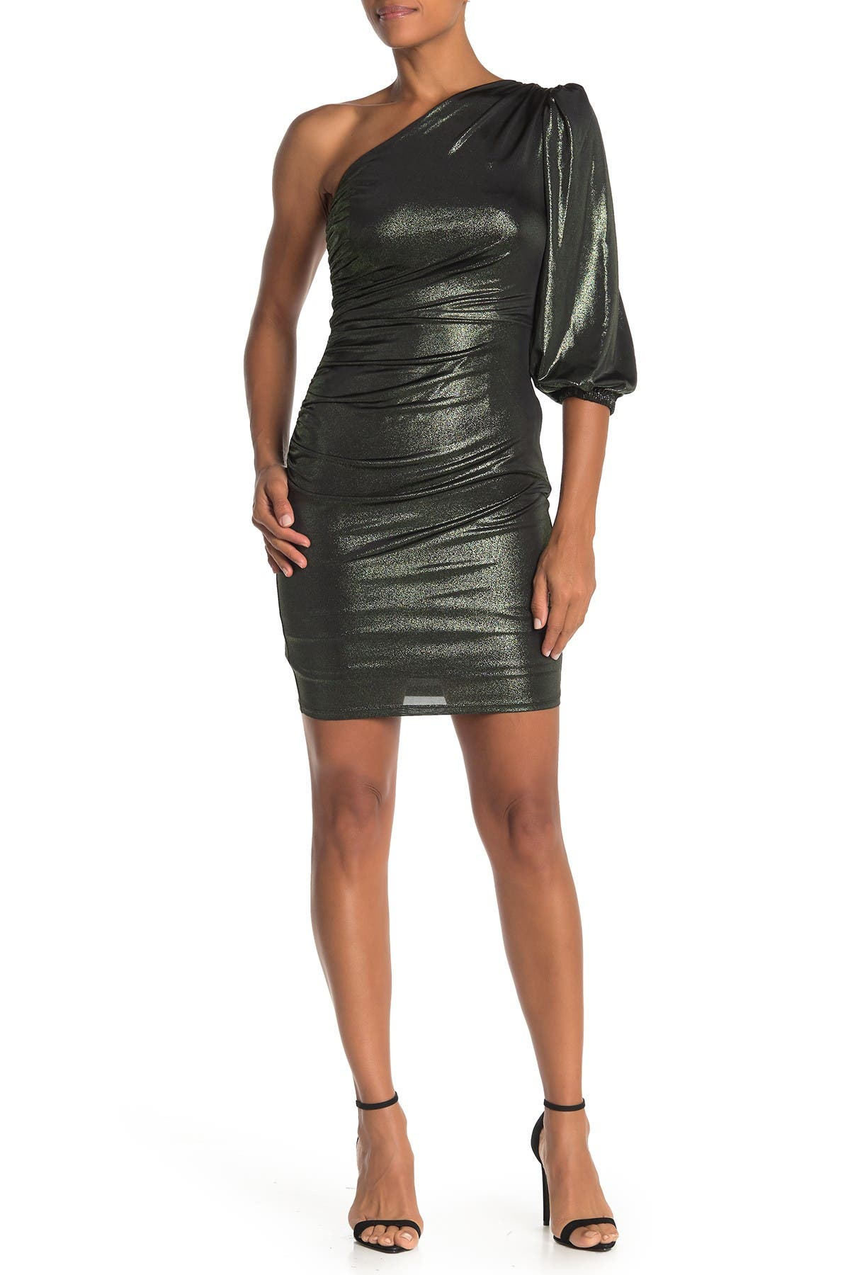 Image of Donna Morgan One Shoulder Stretch Metallic Dress