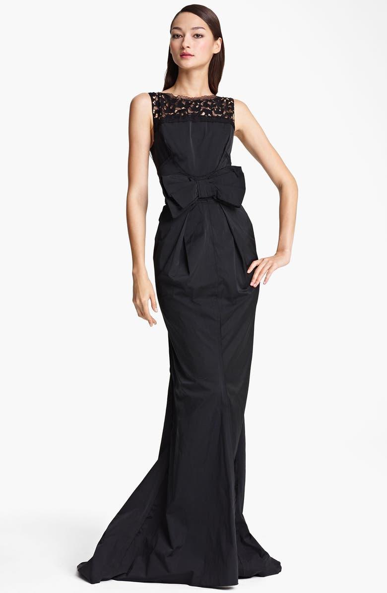 NINA RICCI Bow Waist Sleeveless Gown, Main, color, 001